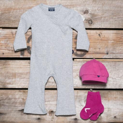 Silky Label Pakket Jumpsuit Mutje Sokjes Wijde Pijp Lange Mouw Glacier Grey Supreme Pink