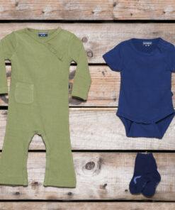 Silky Label Pakket Jumpsuit Romper Sokjes Lange Korte Mouw Wijde Pijp Pesto Green Plum Purple