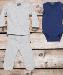 Silky Label pakket Romper T-Shirt Lange Mous Broekje Smalle Pijp Stunning Grey Plum Purple
